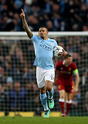 Manchester City's Gabriel Jesus celebrates scoring his side's first goal of the game during the UEFA Champions League, Quarter Final at the Etihad Stadium, Manchester.