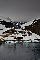 Panorama of Paradise Harbor and Brown Station (Estación Científica Almirante Brown) in Antarctica from the Deck of the Hurtigruten MS Fram. (14 of 16) Image taken with a Fuji X-T1 camera and Zeiss 32 mm f/1.8 lens (ISO 200, 32 mm, f/16, 1/500 sec). Raw images processed with Capture One Pro, Focus Magic, Photoshop CC 2015, and AutoPano Giga Pro