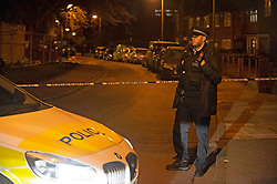 © Licensed to London News Pictures 06/03/2021. Abbey Wood, UK. A large police cordon is in place tonight in Abbey Wood, South East London after the fatal stabbing of a teenager. Police were called to reports of a fight at 5.30pm along with London Ambulance Service.  Photo credit:Grant Falvey/LNP