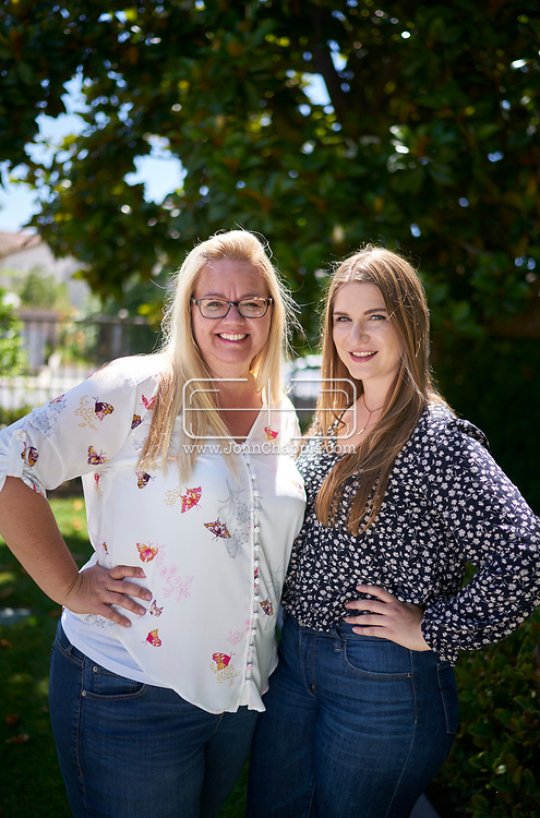 July 1, 2019. Garden Grove, California. Napa County-resident Antonia Picardi, (24), found out on 23andme that she was the product of egg donation and then later she was matched with her biological mom, Melissa Rost, 47, who lives in Southern California.<br /> Photo copyright John Chapple / www.JohnChapple.com