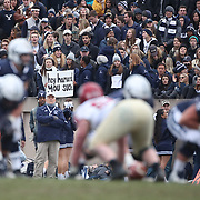NEW HAVEN, CONNECTICUT - NOVEMBER 18: Yale supporters watching the game during the Yale V Harvard, Ivy League Football match at the Yale Bowl. Yale won the game 24-3 to win their first outright league title since 1980. The game was the 134th meeting between Harvard and Yale, a historic rivalry that dates back to 1875. New Haven, Connecticut. 18th November 2017. (Photo by Tim Clayton/Corbis via Getty Images)