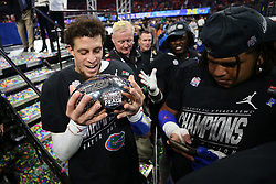 Florida Gators quarterback Feleipe Franks #13 celebrates winning the Chick-fil-A Peach Bowl, Saturday, December 29, 2018, in Atlanta. (Jason Parkhurst via Abell Images for Chick-fil-A Peach Bowl)