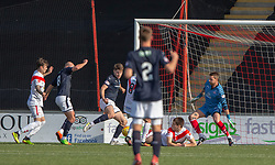 Raith Rovers Kevin Nisbet (15) scoring their fourth goal. Airdrie 3 v 4 Raith Rovers, Scottish Football League Division One played 25/8/2018 at the Excelsior Stadium.