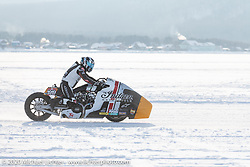 Sebastien Lorentz of Lucky Cats Garage in Chartres, France piloting Belgian custom bike builder Brice Hennebert's 2018 Indian Scout Bobber LSR racer repurposed for ice racing at the Baikal Mile Ice Speed Festival. Maksimiha, Siberia, Russia. Saturday, February 29, 2020. Photography ©2020 Michael Lichter.