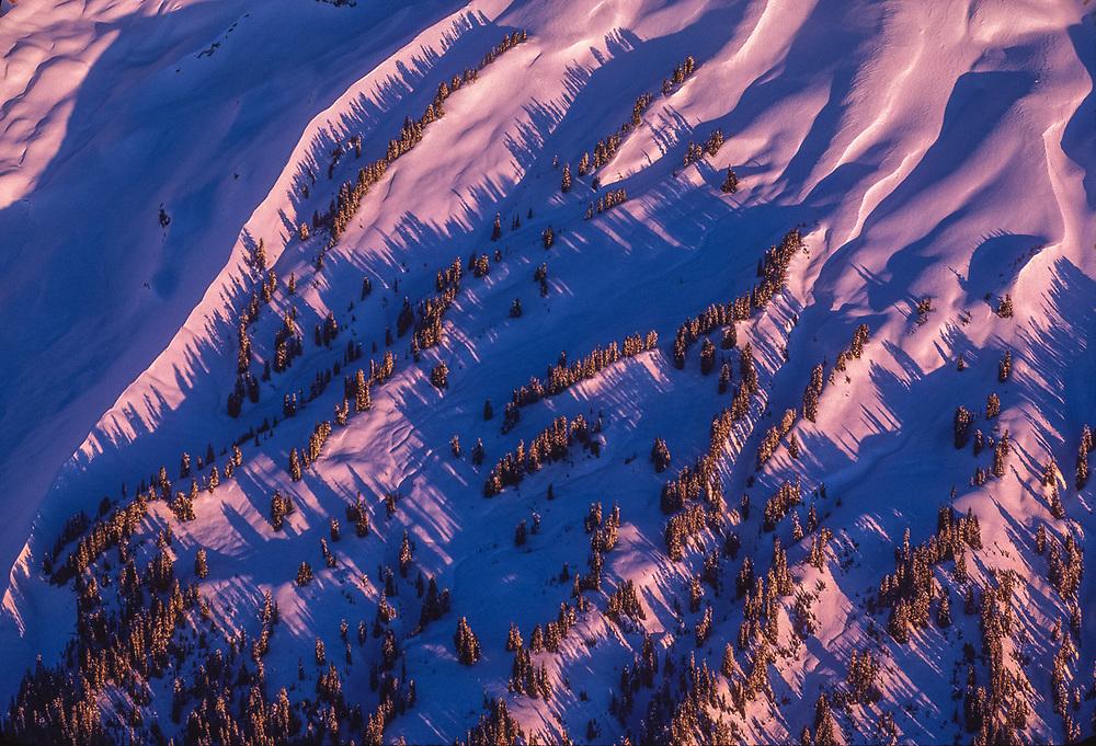 Aerial view, winter design, Mount Baker, Mount Baker Wilderness, Washington, USA