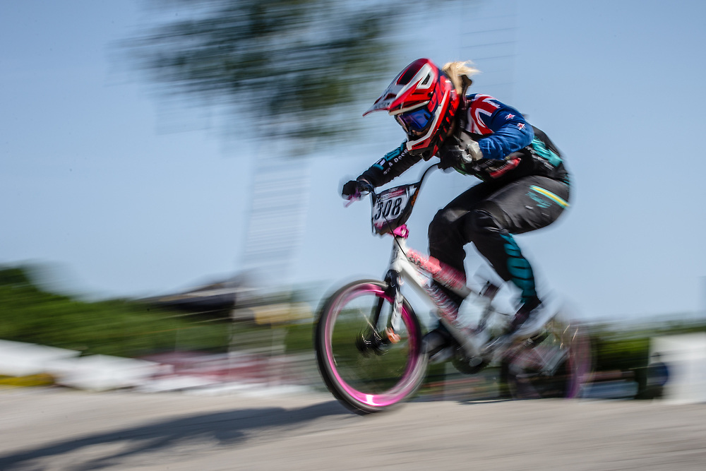 #308 (PETCH Rebecca) NZL during practice at Round 5 of the 2018 UCI BMX Superscross World Cup in Zolder, Belgium