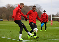 CARDIFF, WALES - Monday, November 19, 2018: Wales' David Brooks (L) and Rabbi Matondo during a training session at the Vale Resort ahead of the International Friendly match between Albania and Wales. (Pic by David Rawcliffe/Propaganda)