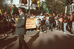 October 9, 2018 - Athens, Greece - Athens,Greece, October 9th, 2018 | Twenty years after the day (9th October 1998) the Greek government refused to offer harbour to the Kurdish leader of the PKK (Workers' Party) Abdullah Ocalan, hundreds of Kurds of Athens, along with Greek supporters, marched in the Greek capital demanding the immediate release of Ocalan from the Turkish prison. The protesters marched from Syntagma square to the Turkish Embassy where they shouted slogans against the Turkish president Erdogan. (Credit Image: © Maria Chourdari/NurPhoto via ZUMA Press)