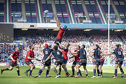 March 30, 2019 - Edinburgh, Scotland, United Kingdom - Munster and Edinburgh players in action during the Heineken Champions Cup Quarter Final match between Edinburgh Rugby and Munster Rugby at Murrayfield Stadium in Edinburgh, Scotland, United Kingdom on March 30, 2019  (Credit Image: © Andrew Surma/NurPhoto via ZUMA Press)