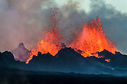 Eruption in Holuhraun, Iceland. Taken 12th. of september 2014. Taken on the ground on the way to the eruption site and at the lava flow.