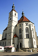 Neupfarrkirche church on Neupfarrplatz, Regensburg, Upper Palatinate, Bavaria, Germany