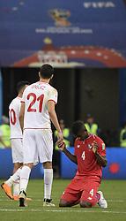 SARANSK, June 28, 2018  Fidel Escobar (R) of Panama reacts after the 2018 FIFA World Cup Group G match between Panama and Tunisia in Saransk, Russia, June 28, 2018. Tunisia won 2-1. (Credit Image: © Lui Siu Wa/Xinhua via ZUMA Wire)