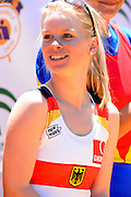 Seville. Andalusia. SPAIN. The GER W8+ on the awards dock, Silver Medalist Women's eights cox Laura SCHWENSEN, at the  2013 FISA European Rowing Championship.  Guadalquivir River.  Sunday   02/06/2013  [Mandatory Credit. Peter Spurrier/Intersport]
