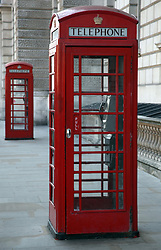 21 April 2011. London, England..Iconic red telephone boxes on  Whitehall, part of the Royal wedding route where the procession will pass through en route to Buckingham Palace in the run up to Catherine Middleton's marriage to Prince William..Photo; Charlie Varley.