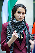 London, United Kingdom, May 27, 2021: Huda Ammori, a member of the Palestine Action activists group,  appeared outside Westminster Magistrates Court and spoke to the press ahead of a trial on Thursday, May 27, 2021. (Photo by Vudi Xhymshiti)