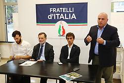 DA SX ALESSANDRO BALBONI ALBERTO BALBONI GALEAZZO BIGNAMI E MAURO MALAGUTI<br /> CONFERENZA FRATELLI ITALIA FERRARA