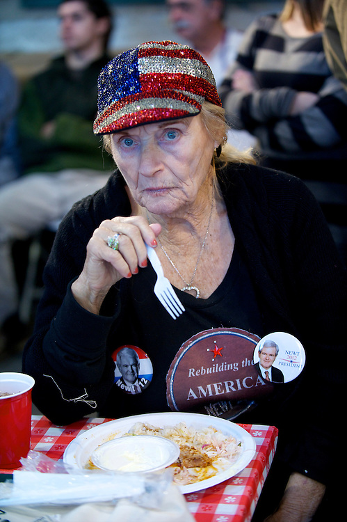 BARBARA MARKS, from Nevada, a supporter of Republican Presidential candidate Newt Gingrich, attends a town hall rally in Dove Field.  The South Carolina primary is on 21 January.
