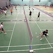 ORANGE, CA, January 3, 2008: Top badminton players, including Howard Bach, left, train at the Orange County Badminton Club in Orange, California.