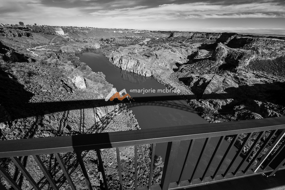 View of the Snake River Canyon with Perrine Bridge shadow Twin Falls, Idaho.