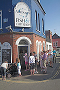 "Aldeburgh is notable for its traditional fish and chip shop. Owned and run by the Cooney family since the 1970s, it has been described in The Times as ""possibly the finest on the east coast"". Others would claim that it is one of the best in Britain, a view given weight by the frequent long queue of customers waiting outside the shop."