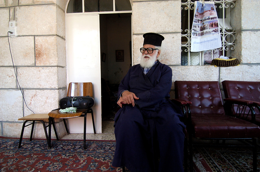A Greek Orthodox priest in the West Bank village of Aboud.