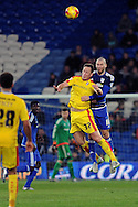 Cardiff City's Matthew Connolly (r) beats Rotherham's Luciano Becchio to a header. Skybet football league championship match, Cardiff city v Rotherham Utd at the Cardiff city stadium in Cardiff, South Wales on Saturday 23rd January 2016.<br /> pic by Carl Robertson, Andrew Orchard sports photography.