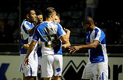 Bristol Rovers celebrate Jermaine Easter (R) goal - Mandatory byline: Neil Brookman/JMP - 07966 386802 - 06/10/2015 - FOOTBALL - Memorial Stadium - Bristol, England - Bristol Rovers v Wycombe Wanderers - JPT Trophy