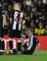 Football - 2019 / 2020 Emirates FA Cup - Fourth Round, Replay: Oxford United vs. Shrewsbury United<br /> <br /> Matthew Longstaff of Newcastle helps brother, Sean Lonstaff to his feet after being fouled, at the Kassam Stadium (Grenoble Road).<br /> <br /> COLORSPORT/ANDREW COWIE