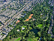 Nederland, Noord-Holland, Amsterdam, 02-09-2020; overzicht Vondelpark met tennisvelden (Kattenlaan en Festina). Oud-West met de Overtoom (links vh park).<br /> Overview Vondelpark with tennis courts (Kattenlaan and Festina). Oud-West with the Overtoom.<br /> <br /> luchtfoto (toeslag op standard tarieven);<br /> aerial photo (additional fee required);<br /> copyright foto/photo Siebe Swart