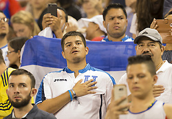 July 7, 2017 - Harrison, New Jersey, United States - Fans of Costa Rica National team and Honduras National team attend CONCACAF Gold Cup group stage game at Red Bulls Arena Costa Rica won 1 - 0 (Credit Image: © Lev Radin/Pacific Press via ZUMA Wire)