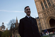 Jacob Rees-Mogg giving interviews on Abingdon Green in Westminster on 11th December 2018 in London in the United Kingdom.