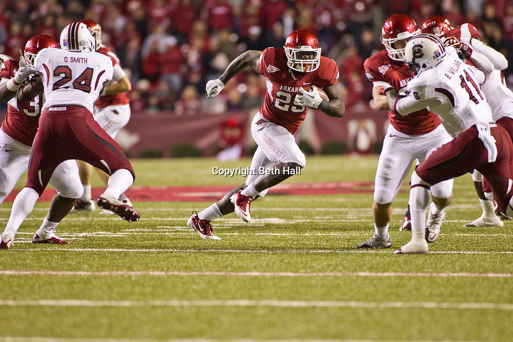 Nov 5, 2011; Fayetteville, AR, USA;  Arkansas Razorback running back Broderick Green (29) carries the ball during a game against the South Carolina Gamecocks at Donald W. Reynolds Stadium.  Mandatory Credit: Beth Hall-US PRESSWIRE