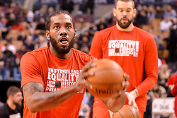 February 11, 2019 - Toronto, Ontario, Canada - Kawhi Leonard #2 of the Toronto Raptors with the ball looks at the basket before the Toronto Raptors vs Brooklyn Nets NBA regular season game at Scotiabank Arena on February 11, 2019, in Toronto, Canada (Toronto Raptors win 127-125) (Credit Image: © Anatoliy Cherkasov/NurPhoto via ZUMA Press)