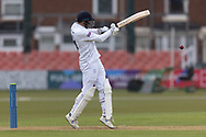 James Vince  pulls for 4 during Day 2 of the LV= Insurance County Championship match between Leicestershire County Cricket Club and Hampshire County Cricket Club at the Uptonsteel County Ground, Leicester, United Kingdom on 9 April 2021.