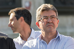 July 3, 2017 - Paris, France - La France Insoumise (LFI) leftist party's leader and Member of Parliament Jean-Luc Melenchon (C-L) attends a gathering on Place de la Republique on July 3, 2017 in Paris, in reaction to the French President's first address to members of the National Assembly and Senate. LFI leader Jean-Luc Melenchon organized a gathering in Paris on July 3 instead of attending President Emmanuel Macron's address to members of Parliament at the Versailles palace. (Credit Image: © Julien Mattia/NurPhoto via ZUMA Press)