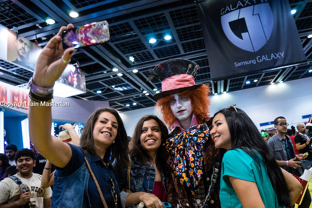 Dubai, April 4th 2014; Fans with Willy Wonka at the  2014 Middle East Film and Comic Con at World Trade Centre in Dubai United Arab Emirates