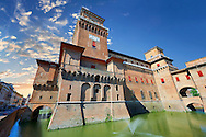 Castello Estense or Castello di San Michele, the 16th century Este Marquis fortification, Farrara, Northern Italy ..<br /> <br /> Visit our ITALY PHOTO COLLECTION for more   photos of Italy to download or buy as prints https://funkystock.photoshelter.com/gallery-collection/2b-Pictures-Images-of-Italy-Photos-of-Italian-Historic-Landmark-Sites/C0000qxA2zGFjd_k<br /> <br /> If you prefer to buy from our ALAMY PHOTO LIBRARY  Collection visit : https://www.alamy.com/portfolio/paul-williams-funkystock/ferrara.html .<br /> <br /> Visit our EARLY MODERN ERA HISTORICAL PLACES PHOTO COLLECTIONS for more photos to buy as wall art prints https://funkystock.photoshelter.com/gallery-collection/Modern-Era-Historic-Places-Art-Artefact-Antiquities-Picture-Images-of/C00002pOjgcLacqI