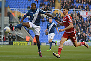 Birmingham City striker Clayton Donaldson on the attack tracked by Middlesbrough defender Daniel Ayala during the Sky Bet Championship match between Birmingham City and Middlesbrough at St Andrews, Birmingham, England on 29 April 2016. Photo by Alan Franklin.