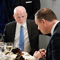 Peter Thomson speaks with Andrzej Duda, President of Poland, during the heads of state luncheon hosted by the Secretary-General.