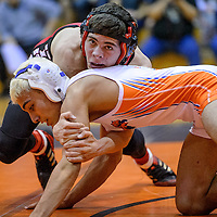 021514       Cable Hoover<br /> <br /> Grants Pirate Edward Woodbury gets a hold on Los Lunas Tiger Antonio Alvarado during the District 6-4A wrestling meet at Gallup High School Saturday.
