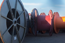 View of empty cable spools