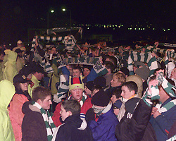 """CELTIC 1 V 3 INVERNESS CALEY..Celtic fans outside after the result..The team is also famous for its Scottish Cup victories over Celtic in 2000 and winning 3-1 at Celtic Park, resulting in the headline """"Super Caley Go Ballistic Celtic Are Atrocious"""" in The Scottish Sun..©2010 Michael Schofield. All Rights Reserved."""