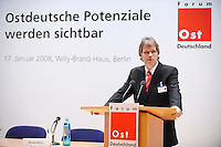 """17 JAN 2008, BERLIN/GERMANY:<br /> Jens Bullerjahn, SPD, Finanzminister Sachsen-Anhalt, haelt eine Rede, Veranstaltung des Forum OstDeutschland unter dem Motto """"Ostdeutsche Potentiale werden sichtbar"""", Willy-Brandt-Haus<br /> IMAGE: 20080117-01-013<br /> KEYWORDS: speech"""