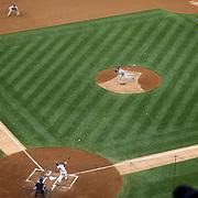 Robinson Cano hits a home run off the New York Mets pitcher Johan Santana during the New York Yankees V New York Mets Subway Series Baseball game at Yankee Stadium, The Bronx, New York. 8th June 2012. Photo Tim Clayton