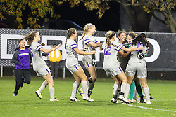 04 November 2016:   during an NCAA Missouri Valley Conference (MVC) Championship series women's semi-final soccer game between the Loyola Ramblers and the Evansville Purple Aces on Adelaide Street Field in Normal IL