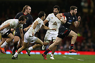 Alex Cuthbert of Wales ® makes a break. Under Armour 2017 series Autumn international rugby, Wales v Georgia at the Principality Stadium in Cardiff , South Wales on Saturday 18th November 2017. pic by Andrew Orchard, Andrew Orchard sports photography