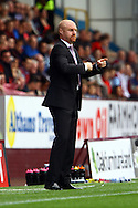 Burnley Manager Sean Dyche offers instructions from the technical area. Skybet football league championship match, Burnley  v Birmingham City at Turf Moor in Burnley, Lancs on Saturday 15th August 2015.<br /> pic by Chris Stading, Andrew Orchard sports photography.