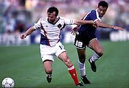 FIFA World Cup - Italia 1990..Quarter Final, Argentina v Yugoslavia..Dejan Savicevic (YUG) v Jos? Serrizuela (ARG).©Juha Tamminen