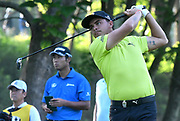 ST. LOUIS, MO - AUGUST 09: Rickie Fowler tees off on the #11 hole during the first round of the PGA Championship on August 09, 2018, at Bellerive Country Club, St. Louis, MO.  (Photo by Keith Gillett/Icon Sportswire)
