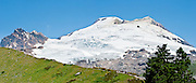 The Railroad Grade Trail follows a lateral moraine of the Easton Glacier which flows from the south side of Mount Baker (10,781 feet). Mount Baker National Recreation Area, Washington, USA. Panorama stitched from 4 images.